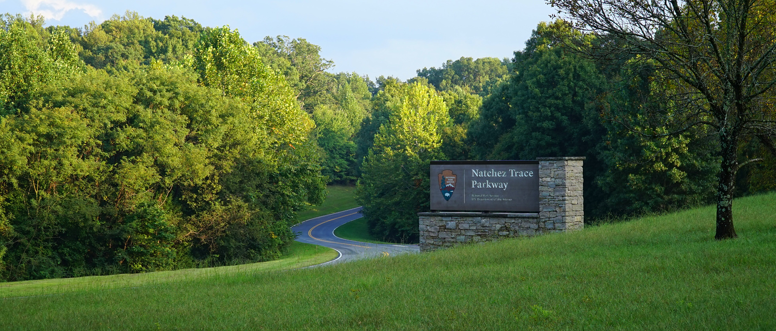 NATCHEZ TRACE PARKWAY.  North Terminus, Franklin TN -- 9/20, 5:44 pm.  NTP is 442.1 miles long.  We're gonna drive the whole thing.  Relax and enjoy the ride...