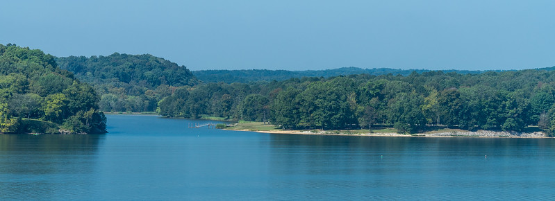 Natchez Trace Parkway, AL, MM 329 -- 9/21, 10:17 am Colbert Ferry (left) on the NW bank of the Tennessee River.