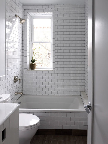 we would like a simple white subway tile, tub to ceiling and around the walls, lightest grout.