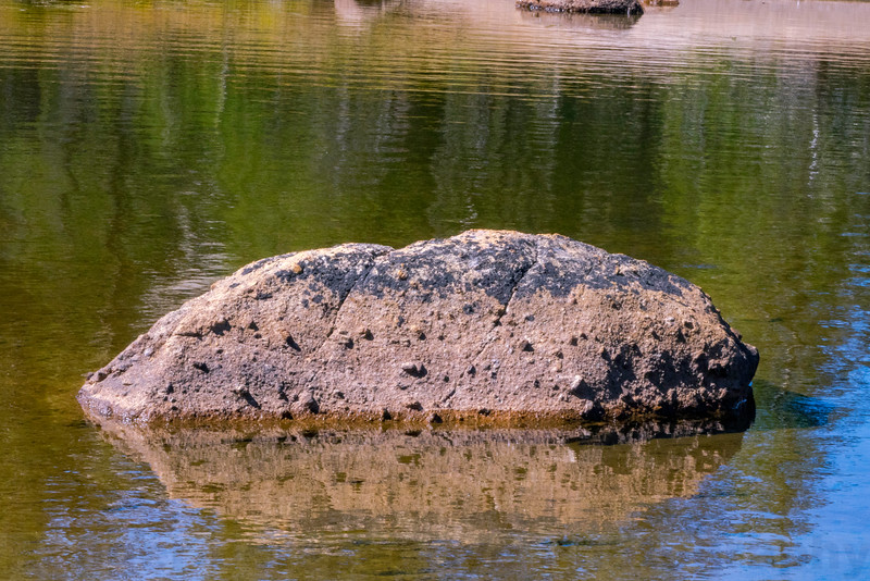 A Cathedral Peak Granite boulder in Upper Cathedral Lake