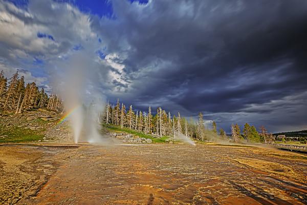 """""""Earth's Fury,"""" Vent Geyser, Turban Geyser, West Triplet Geyser and the Grand Geyser Complex, Upper Geyser Basin, Yellowstone National Park, Wyoming"""