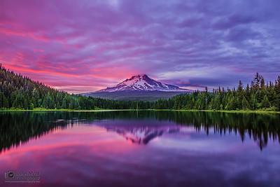 """Hood's Luster,"" Sunset over Mt Hood and Trillium Lake, Mount Hood National Forest, Oregon"