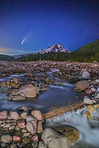 """""""Peace,"""" Comet C/2020 F3 (Neowise) and a Perseid Meteor over Mt Hood and the White River, Mount Hood National Forest, Oregon"""