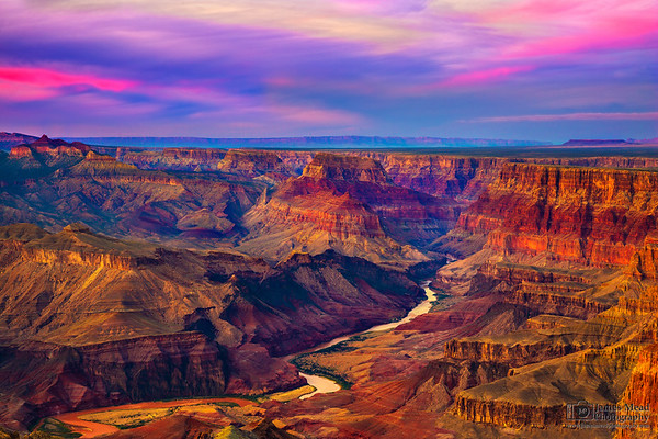 """""""The Beauty Below, The Beauty Above"""" Desert View, the Colorado River and the Palisades of the Desert at Sunset, Grand Canyon National Park, Arizona"""