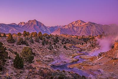 """Sub Zero,"" Alpenglow at dawn over Laurel Mountain, Mount Morrison, Mini Morrison (Mono Jim Peak) and Hot Creek, Sierra Nevada Mountains, California"