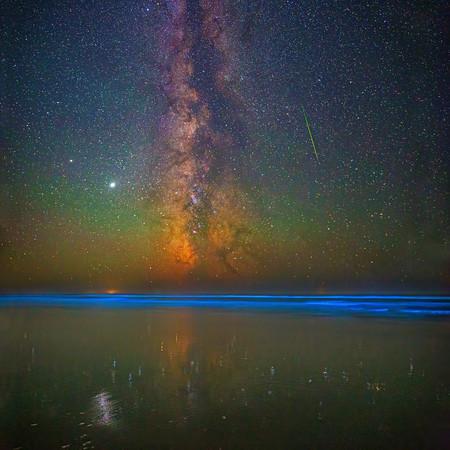 """Titan,"" Bioluminescence, the Milky Way, Jupiter and Saturn over the Pacific Ocean, Oregon Coast"