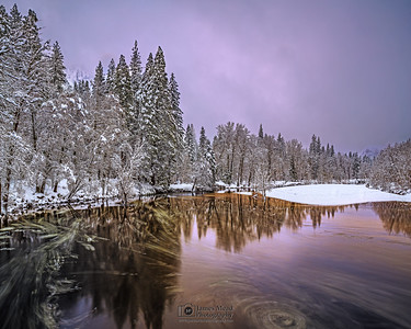 """""""Veiled Beauty,"""" Alpenglow through low clouds and fog over the Merced River, Yosemite National Park, California"""