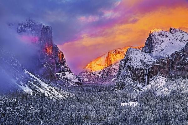"""Gates of Paradise,"" Sunset over El Capitan, Cathedral Rocks, Cathedral Spires, Bridalveil  Fall, and Yosemite Valley, Yosemite National Park, California"