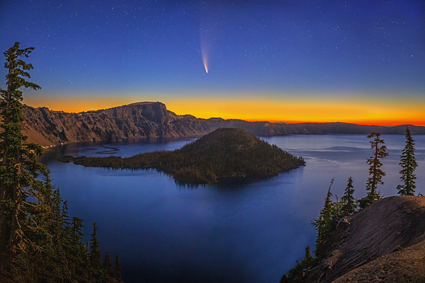 """""""Dances with Dawn,"""" Comet C/2020 F3 (Neowise) over Wizard Island and Crater Lake, Crater Lake National Park, Oregon"""