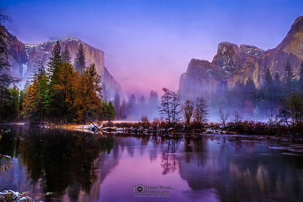 """""""It Was Just a Dream,""""  El Capitan, Cathedral Rocks, the Merced River and Bridalveil Fall at Sunset, Yosemite Valley, Yosemite National Park"""
