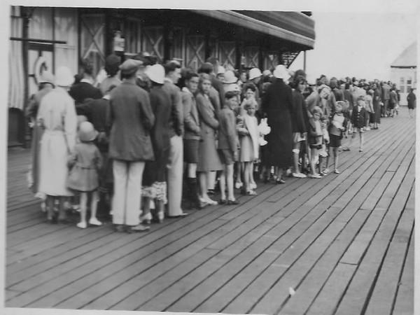 People queue to see Clown Bertram.