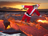 Santa surfing in Hawaii
