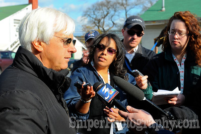 Bob Baffert takes on the media on the backside of Churchill Downs.