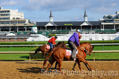 Morning workout on the backside of Churchill Downs