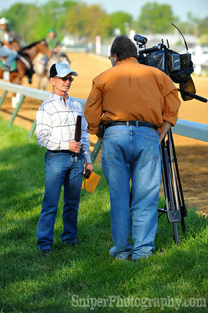 Pat Day being interviewed on the backside of Churchill Downs