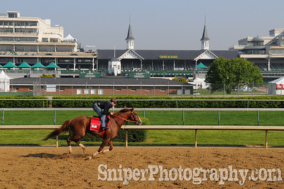 A quiet morning workout at Churchill Downs.
