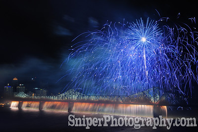 The trademark Waterfall on the 2nd Street Bridge during Thunder Over Louisville.