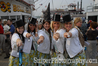 The Kentucky Derby Festival Princesses posing during the Great Steamboat Race.