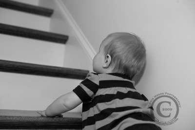 Crawling up the stairs