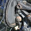 Standard and not very effective Austin 7 front brake levers. Axle twist reduced the effectiveness.