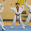 cReingold Elementary School in Fitchburg got a visit from The Korean National Taekwondo Demo Team who did some demonstration for the students on Tuesday, Oct. 8, 2019. Taekwondo student Yu Jin Yong, center, performs during their visit.  SENTINEL & ENTERPRISE/JOHN LOVE
