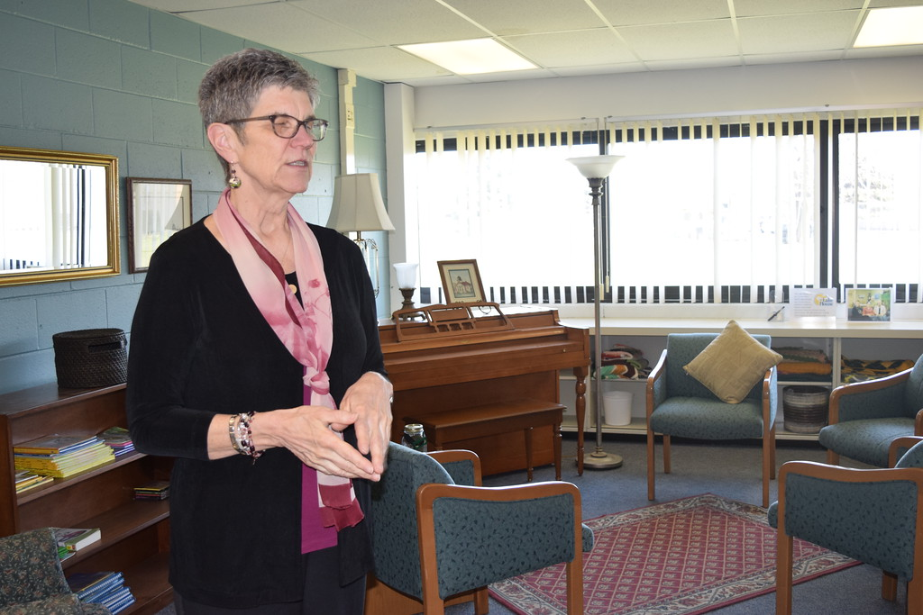 . Madeline Bialecki, director of the Lake House, in a room at the new facility used by the Lake House support group.