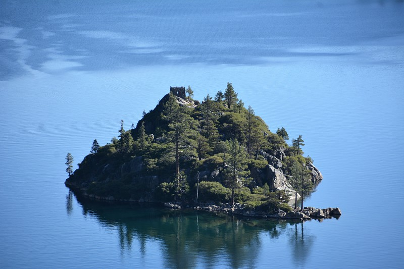 A close up of the island of Emerald Bay