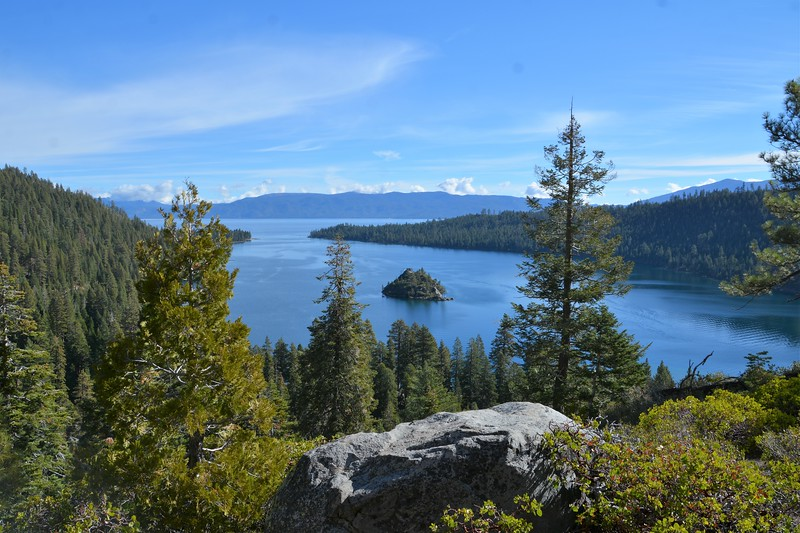 Emerald Bay with the trees and rock.