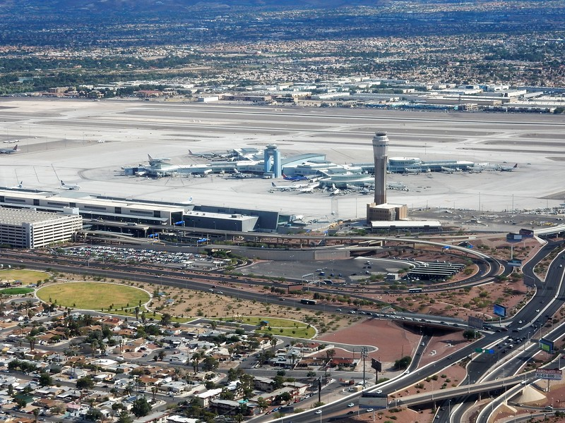 The Las Vegas McCarren International Airport as we make turn adjustments.