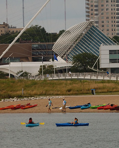 Kayaks at Lakeshore State Park  Downtown Milwaukee, Wisconsin.
