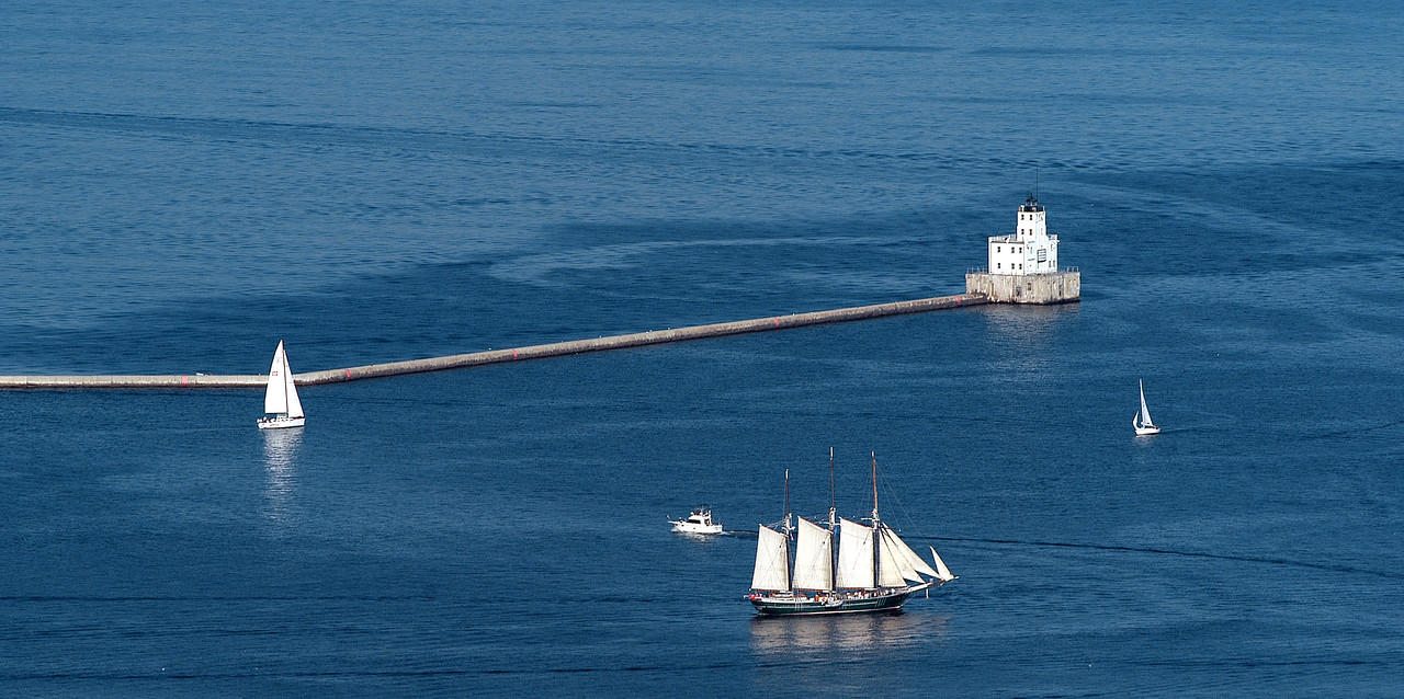 The State of Wisconsin's clipper ship the Denis Sullivan cruises Milwaukee's harbor.