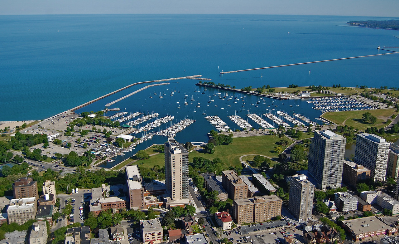 A view of Prospect Avenue and the McKinley Marina in Milwaukee, WI June 2012