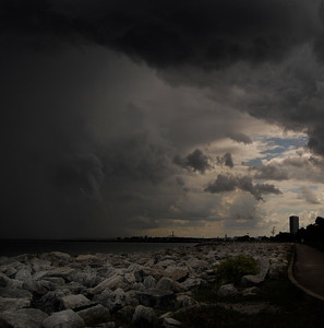 Looking South from Bradford Beach as the storms moved Southeast over Lake Michigan. August 2012