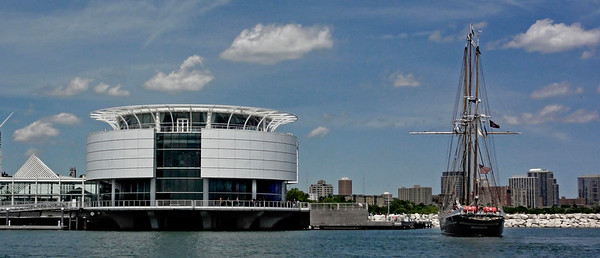 Denis Sullivan about to dock at it's Summer Home Discovery World on Milwaukee's Lakefront.