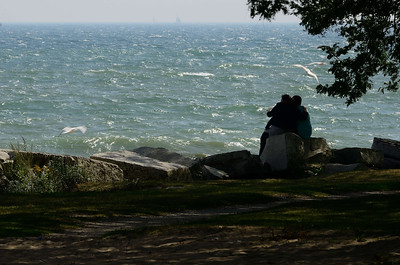 A breezy day on the shore of Lake Michigan at Milwaukee, WI