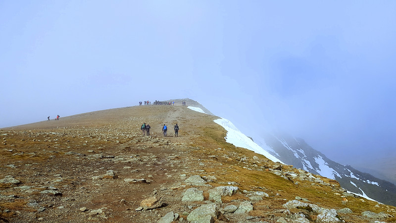 The long walk up the summit plateau to the trig point at the top and lunch!