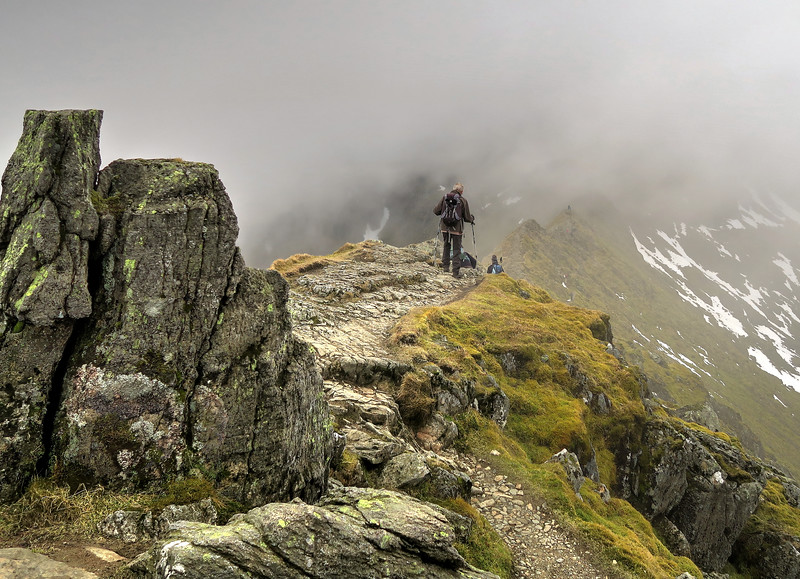 Striding edge - John sets off