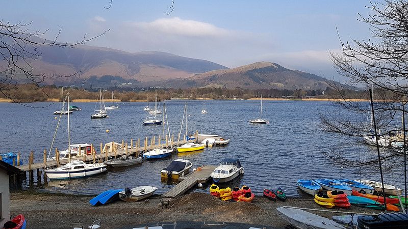 The view across Derwent Water from the cafe we visited several times on the walk into Keswick