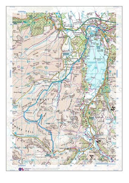 The map of our route, from Honister North