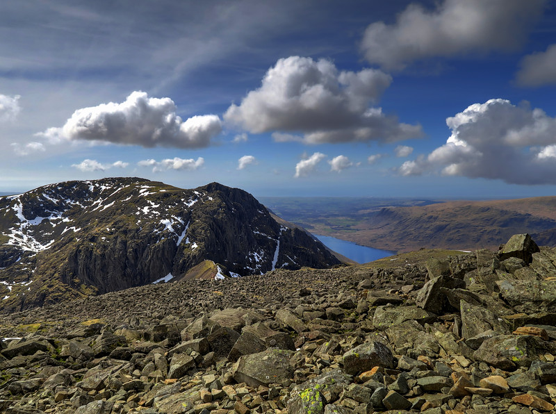 Scafell from its slightly higher neighbour, Scafell Pike
