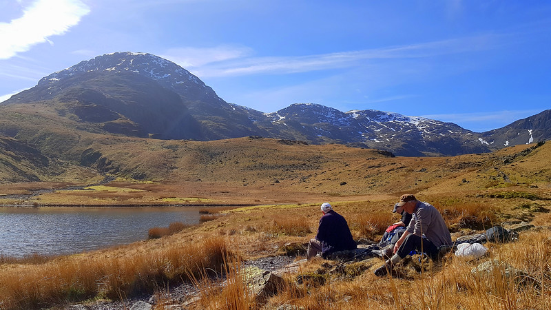 Morning coffee is taken by Styhead Tarn