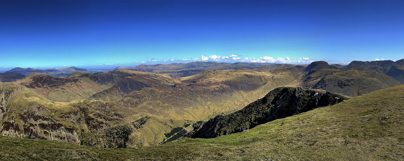 The panorama from Pillar looking towards the North.   Our route down from Scarth Gap is just visible as a pale line diagonally down from right to left