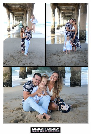 Family photographs under the Manhattan Beach Pier