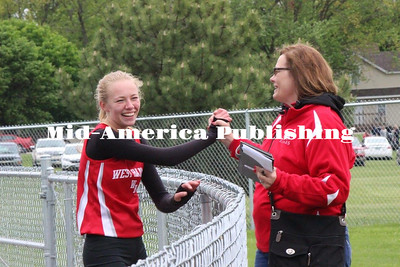Submitted photo Sydney Burgardt and Phyllis Jordanger celebrate during a track meet.