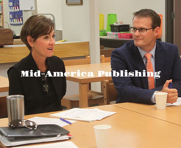 Governor Kim Reynolds and Lt. Gov. Adam Gregg discussed early literacy and the Teacher Leadership and Compensation program with Garner-Hayfield-Ventura school administration and teachers during a  visit to GHV Elementary, Aug. 23. Rebecca Peter| The Leader