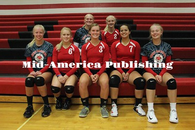 Curran McLaughlin | The LeaderLetterwinners returning to play volleyball for West Hancock in the 2017 season are: (front row, left to right) Sydney Burgardt, Ryann Hagen, Brigid Smith, Sydney Zamago, Sydney Hudspeth, (back row) Amanda Chizek, and Emily Ryerson.