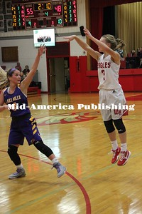 Curran McLaughlin | The Leader Rachel Leerar shoots in West Hancock's game against Lake Mills at home on Nov. 28.