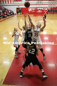 Curran McLaughlin | The Leader Amanda Chizek contests a shot against a North Union player.
