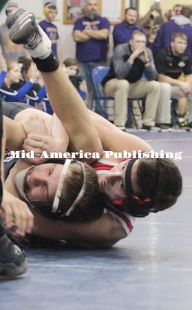 Kristi Nixon | Mid-America Publishing West Hancock 138-pounder Dalton Subject gains back points in overtime to win over Nashua-Plainfield's Shane Hillesheim and advance to the title match of the Doug Trees Invite on Saturday, Jan. 20 in Greene.