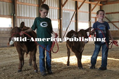 Curran McLaughlin | The Leader Ethan and Jack Scrieber practice showing off their calves Ralph and Harry at the Hancock County Fairgrounds.